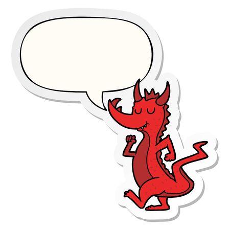 cartoon cute dragon with speech bubble sticker