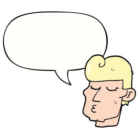 cartoon handsome man with speech bubble
