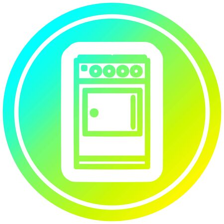 kitchen cooker circular icon with cool gradient finish
