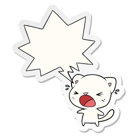cute cartoon cat crying with speech bubble sticker