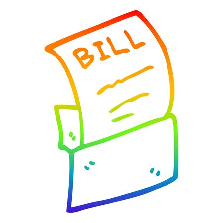 rainbow gradient line drawing of a cartoon debt bill Ilustrace