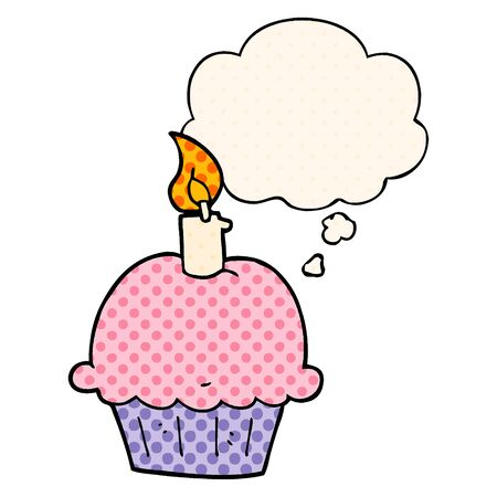 cartoon birthday cupcake with thought bubble in comic book style