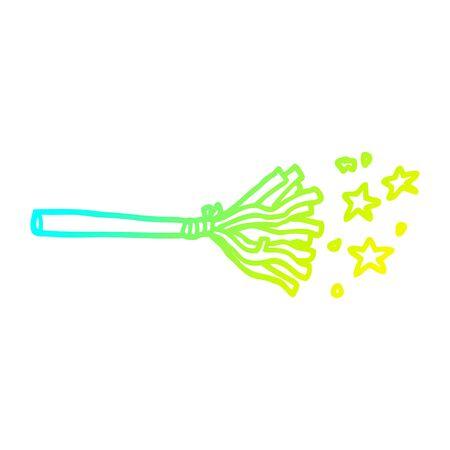 cold gradient line drawing of a cartoon magic broom sticks