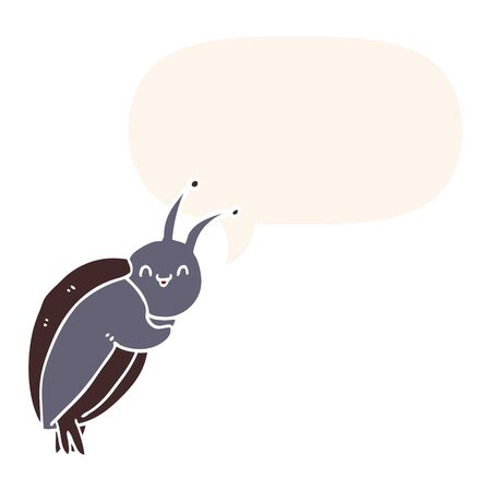 cute cartoon beetle with speech bubble in retro style Foto de archivo - 129229486