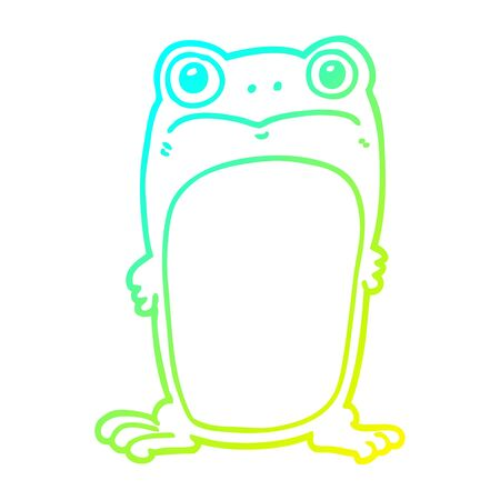 cold gradient line drawing of a cartoon staring frog