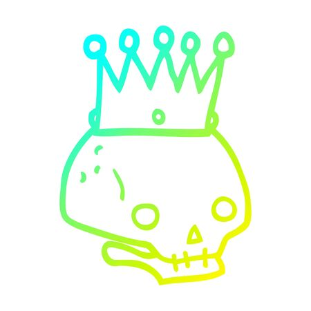 cold gradient line drawing of a cartoon skull with crown Stockfoto - 129229491