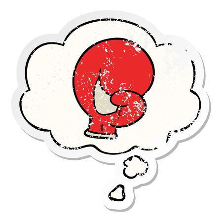 boxing glove cartoon  with thought bubble as a distressed worn sticker Banque d'images - 129229490