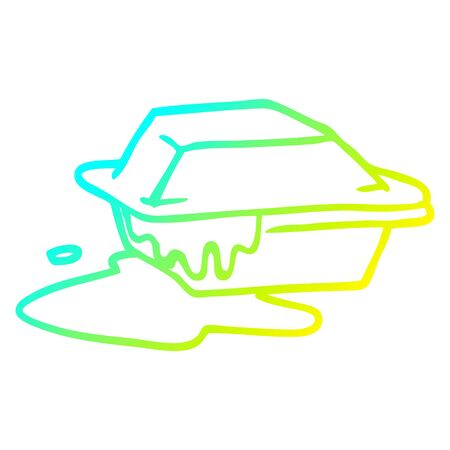 cold gradient line drawing of a cartoon food take out