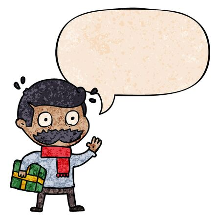 cartoon man with mustache and christmas present with speech bubble in retro texture style