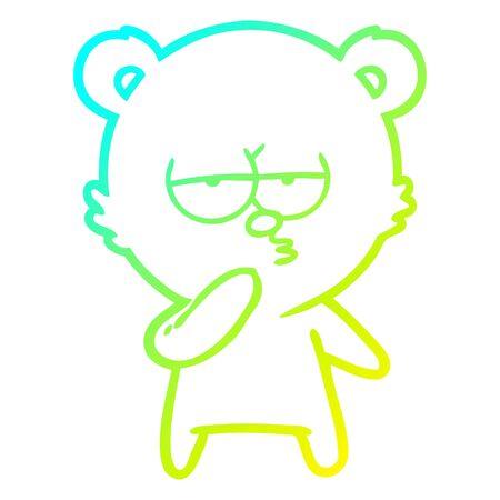 cold gradient line drawing of a bored polar bear cartoon
