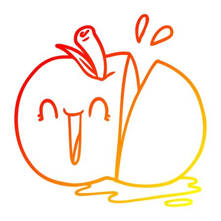 warm gradient line drawing of a happy cartoon sliced apple