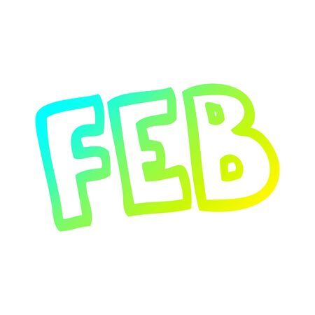cold gradient line drawing of a cartoon month of february