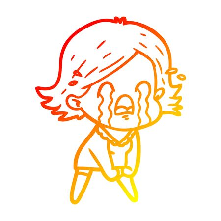 warm gradient line drawing of a cartoon woman crying 向量圖像