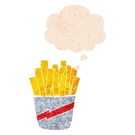 cartoon box of fries with thought bubble in grunge distressed retro textured style