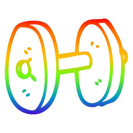 rainbow gradient line drawing of a cartoon gym weights