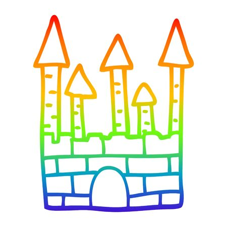 rainbow gradient line drawing of a cartoon traditional castle