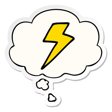 cartoon lightning bolt with thought bubble as a printed sticker
