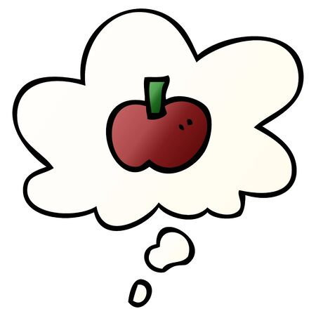 cartoon apple symbol with thought bubble in smooth gradient style