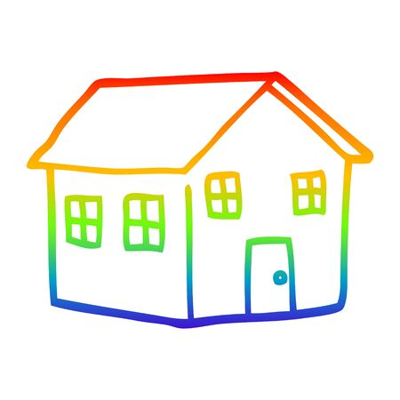 rainbow gradient line drawing of a cartoon house