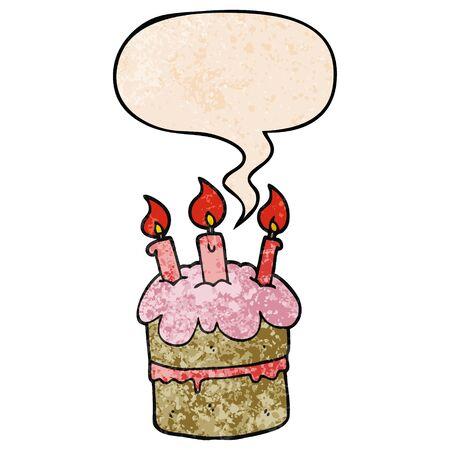 cartoon birthday cake with speech bubble in retro texture style
