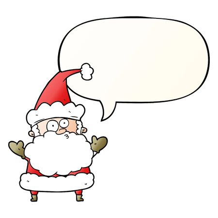 cartoon confused santa claus shurgging shoulders with speech bubble in smooth gradient style