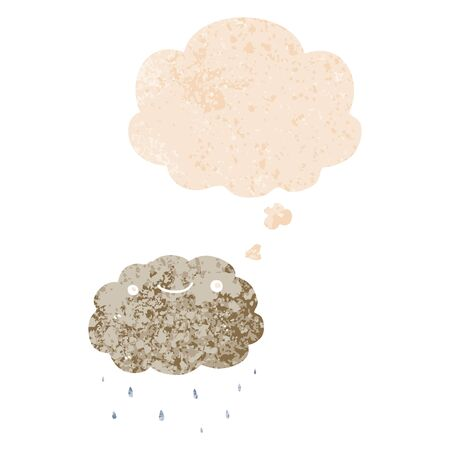 cartoon cloud with thought bubble in grunge distressed retro textured style Stok Fotoğraf - 129022089