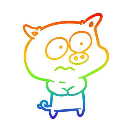 rainbow gradient line drawing of a nervous pig