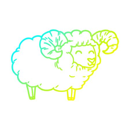 cold gradient line drawing of a cartoon ram