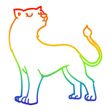 rainbow gradient line drawing of a cartoon lioness