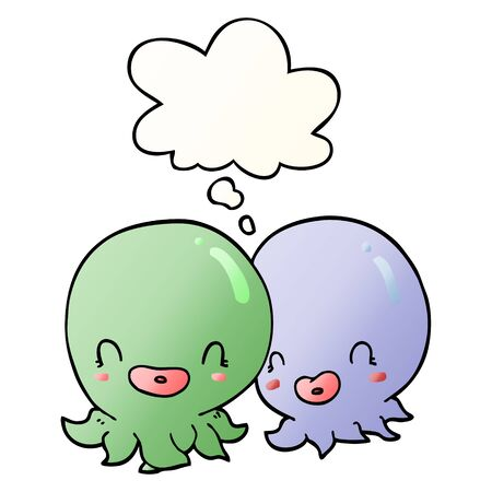 two cartoon octopi  with thought bubble in smooth gradient style