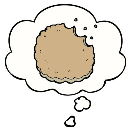 cartoon biscuit with thought bubble