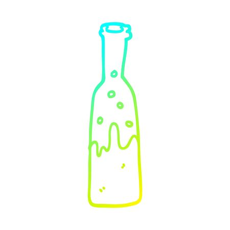 cold gradient line drawing of a cartoon bottle of pop