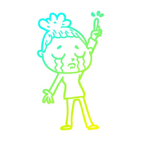 cold gradient line drawing of a cartoon crying woman raising hand