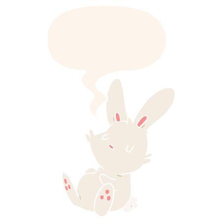 cute cartoon rabbit sleeping with speech bubble in retro style