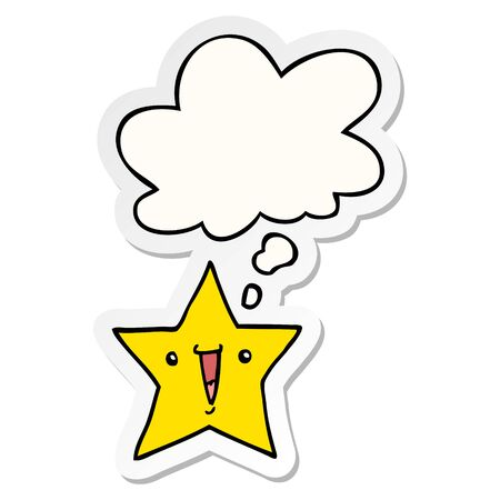 cartoon star with thought bubble as a printed sticker Illusztráció