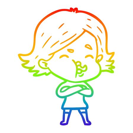 rainbow gradient line drawing of a cartoon girl pulling face