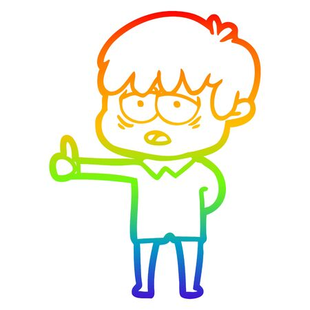 rainbow gradient line drawing of a cartoon exhausted boy Ilustrace
