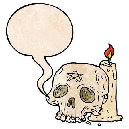 cartoon spooky skull and candle with speech bubble in retro texture style