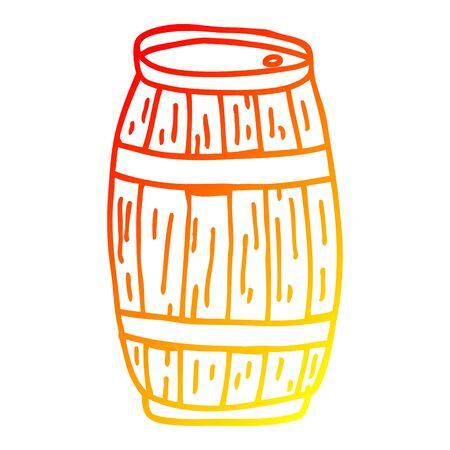 warm gradient line drawing of a cartoon barrel