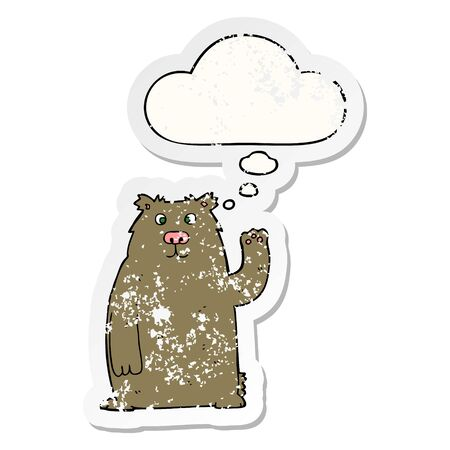 cartoon bear with thought bubble as a distressed worn sticker