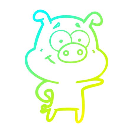 cold gradient line drawing of a cartoon pig pointing 向量圖像