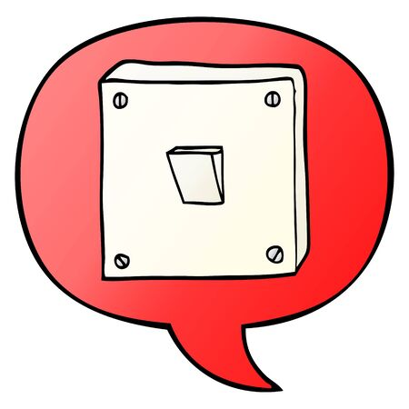 cartoon light switch with speech bubble in smooth gradient style