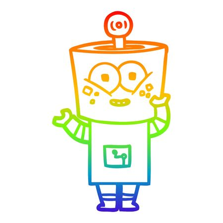 rainbow gradient line drawing of a happy cartoon robot waving hello