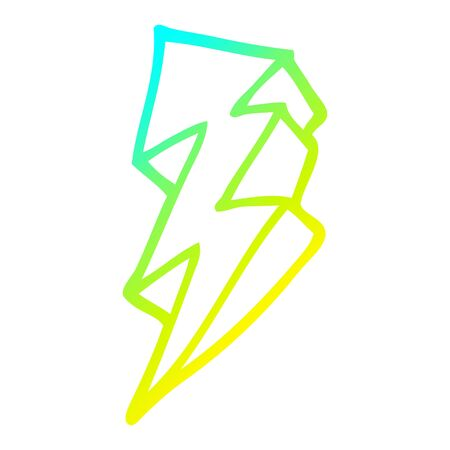 cold gradient line drawing of a cartoon lightning bolt