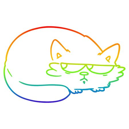 rainbow gradient line drawing of a cartoon suspicious cat