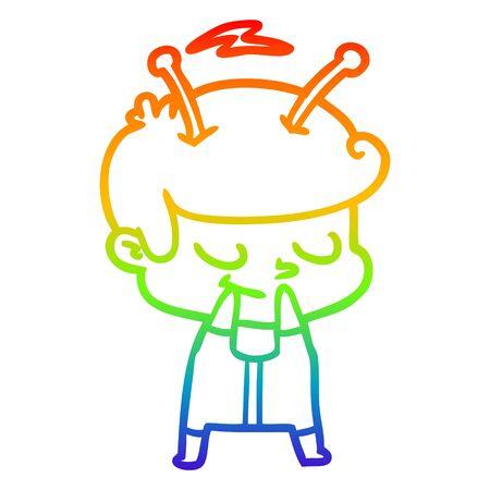 rainbow gradient line drawing of a self conscious cartoon spaceman Çizim