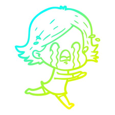 cold gradient line drawing of a cartoon woman crying 向量圖像