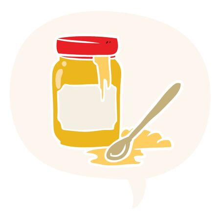 cartoon jar of honey with speech bubble in retro style