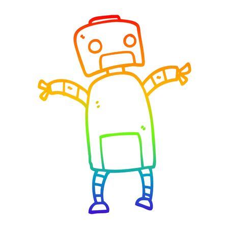 rainbow gradient line drawing of a cartoon robot dancing