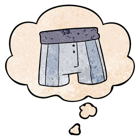 cartoon boxer shorts with thought bubble in grunge texture style